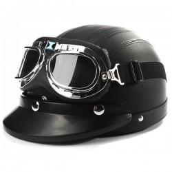 casque vintage noir et lunettes chromées